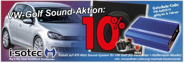 VW Golf Sound-Aktion | 10% Rabatt bis 08. Februar | Verstärker + Subwoofer