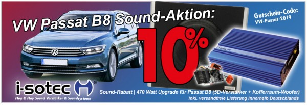 VW Passat B8 | 10% Rabatt auf i-soamp 5D Digital-Verstärker + Kofferraum-Woofer